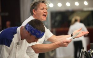 HELL'S KITCHEN: Contestant Chris (L) and Chef Ramsay on HELL'S KITCHEN WEDDING airing Thursday, April 10, 2014 (8:00 PM-9:00 PM ET/PT) on FOX. (Photo by FOX via Getty Images)