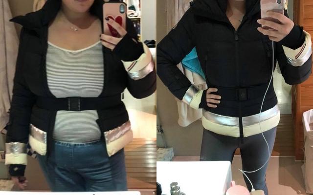 小禎不只戒酒瘦身,還靠穿小一號的外套激勵自己!左圖是減肥前,右圖是減重成功後的樣子。(擷取自胡小禎Facebook)
